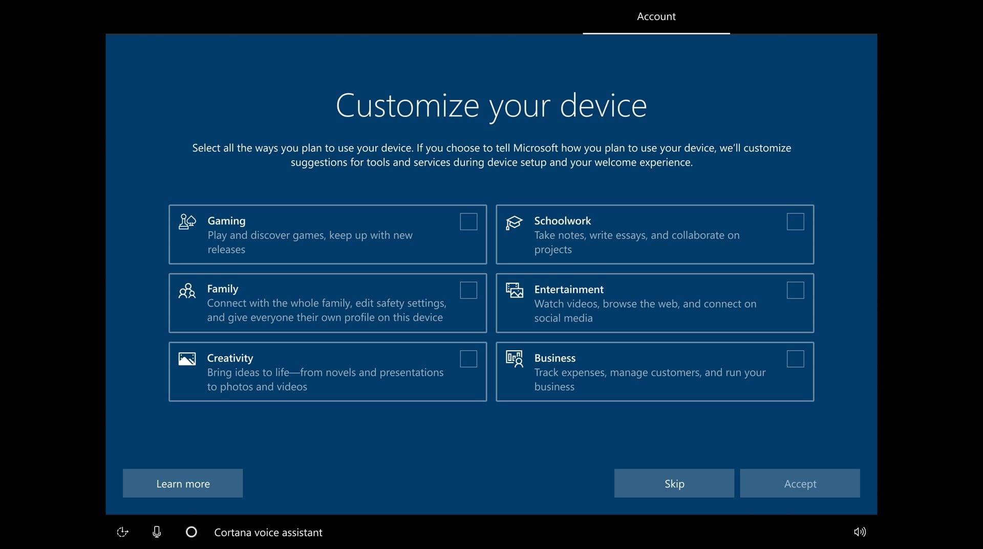 Personalización nueva del OOBE de la Build 20231 de Winodws 10