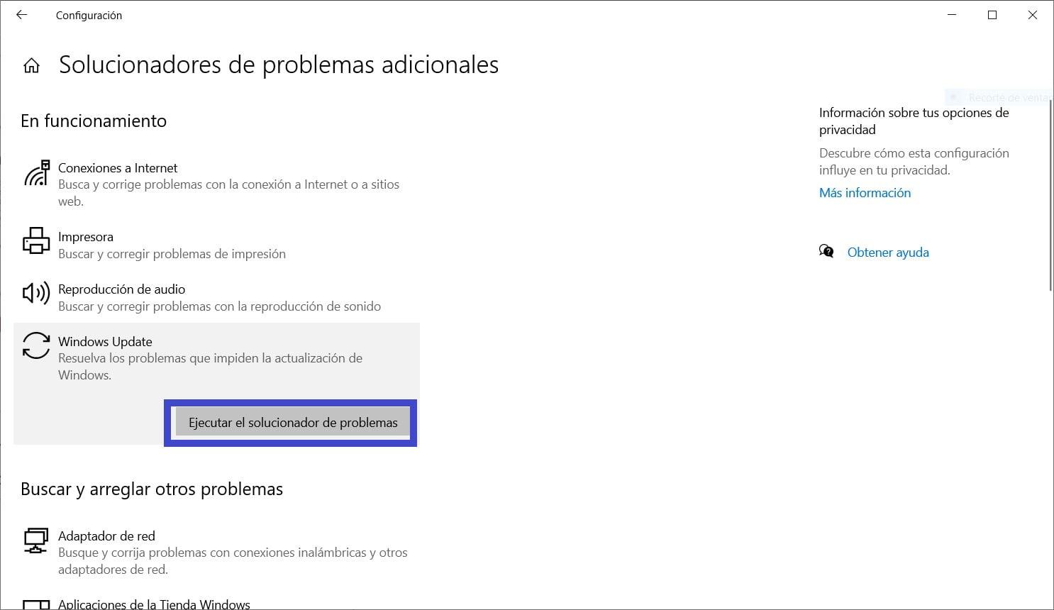 Botón para ejecutar el solucionador de problemas de Windows Update