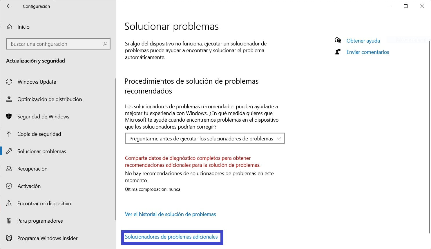 Acceso a solucionadores de problemas de Windows 10