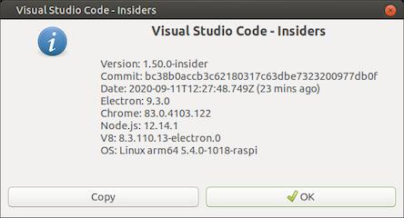 Acerca de Visual Studio Code, ejecutándose en Linux ARM