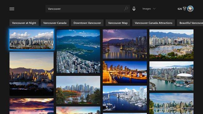 Búsqueda de imágenes en la nueva aplicación de Bing para Xbox