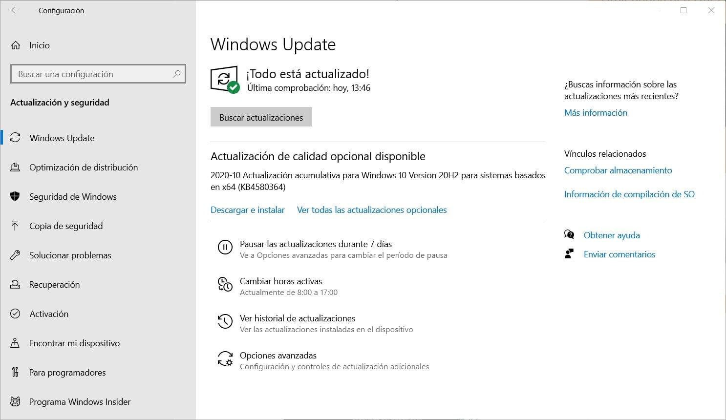 Actualización de Windows 10 con Windows Update