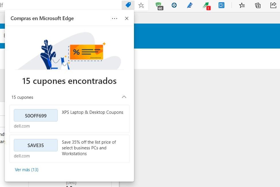 Cupones que ofrece Microsoft Edge para las compras online