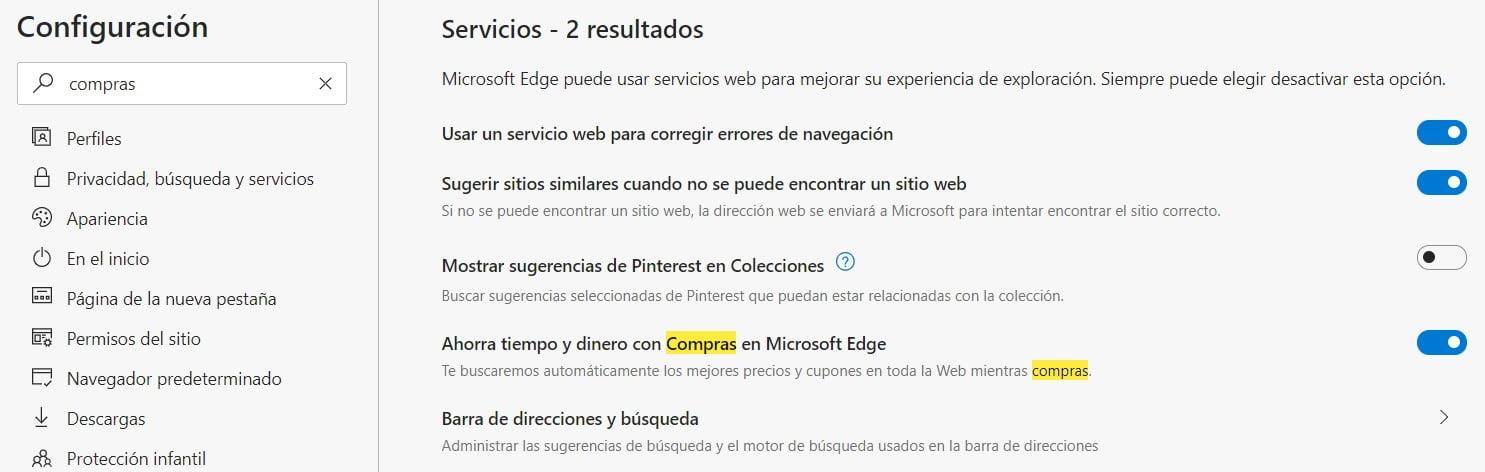 Opción para habilitar la caracteristica de compras en Microsoft Edge