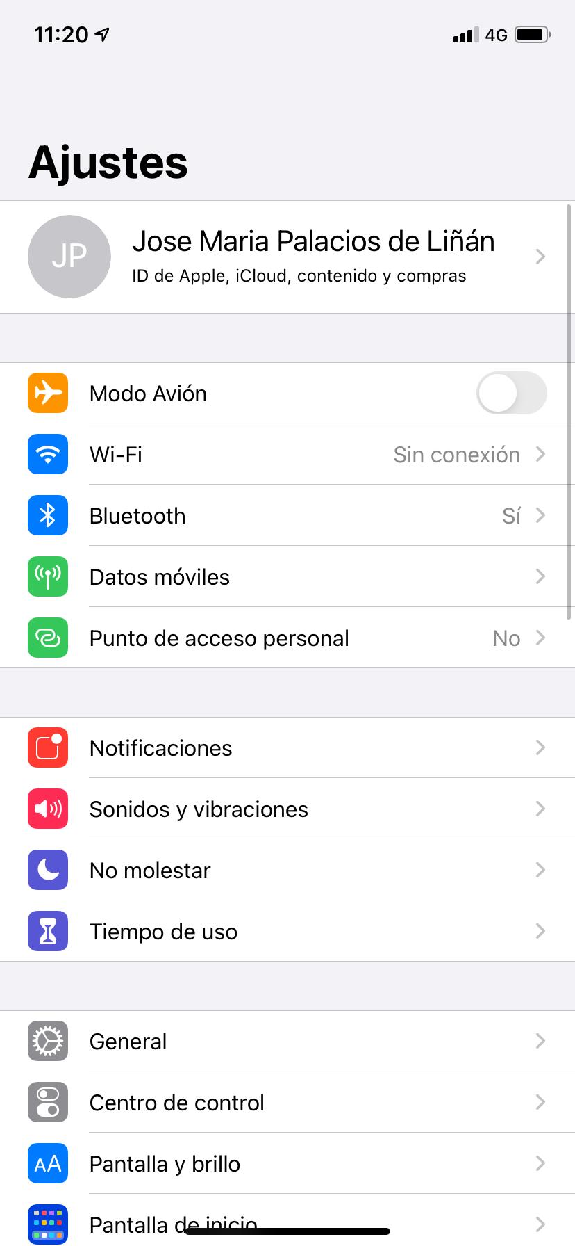 El menú de configuración de iOS