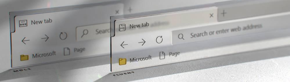 Antes y después del icono de pestaña en Microsoft Edge gracias a Fluent Design