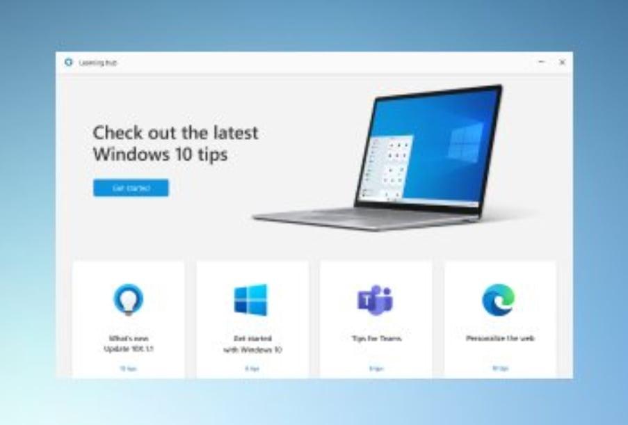La app de Consejos renombrada a Learning Hub para Windows 10X