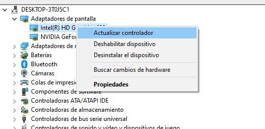 actualizar controladores desde el administrador de dispositivos