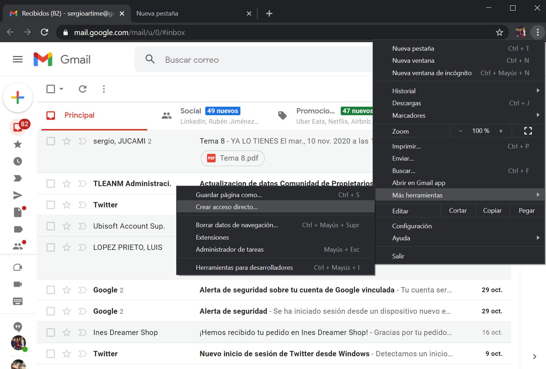 Instalar Gmail como app desde Chrome