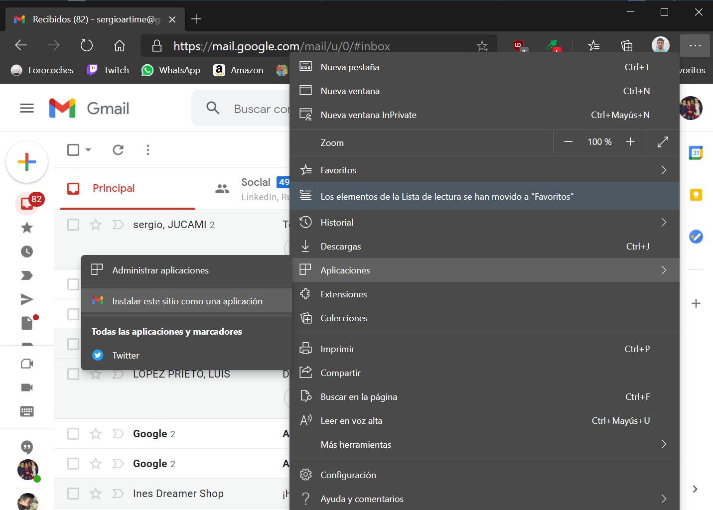 Instalar Gmail desde Edge