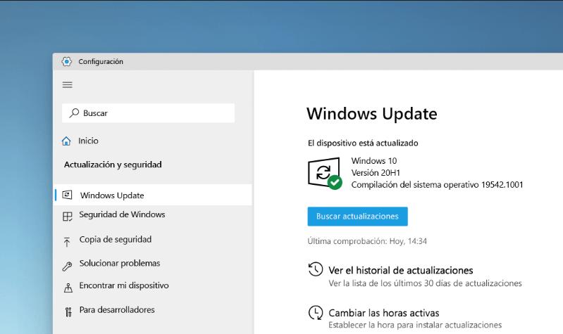 El menú de actualización de Windows 10