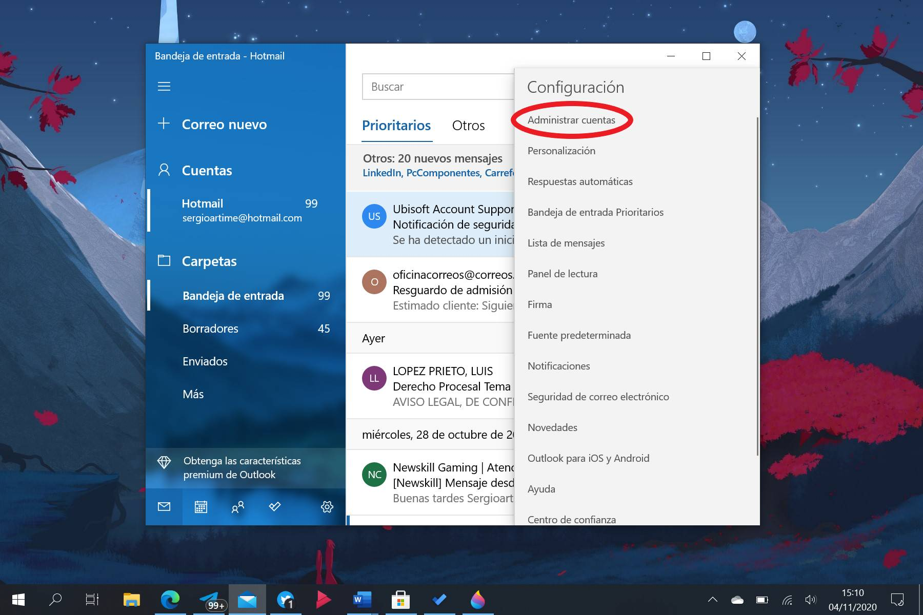 Administrar cuentas del Correo de Windows 10