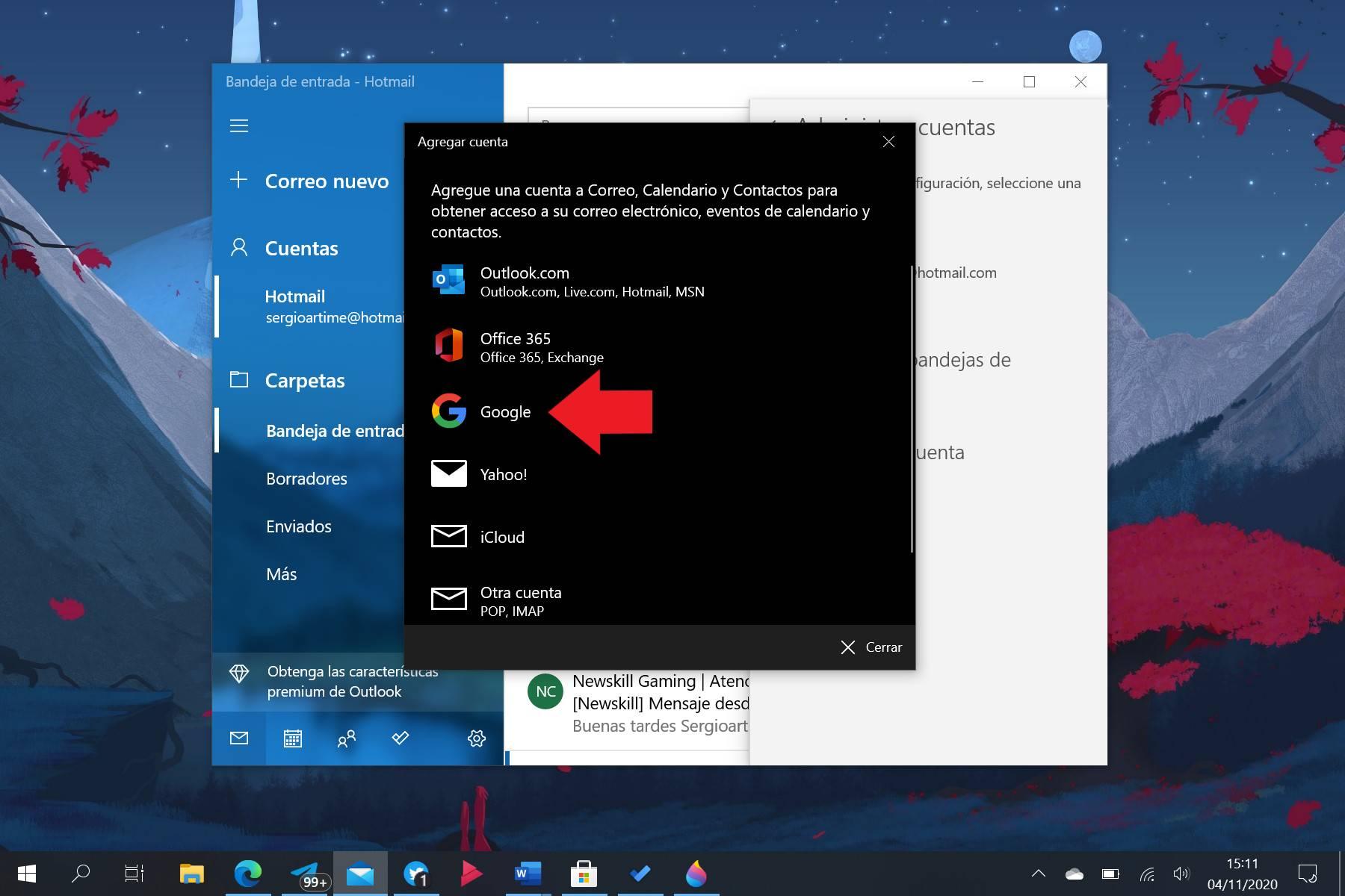 Agregar cuenta de Gmail al Correo de Windows 10