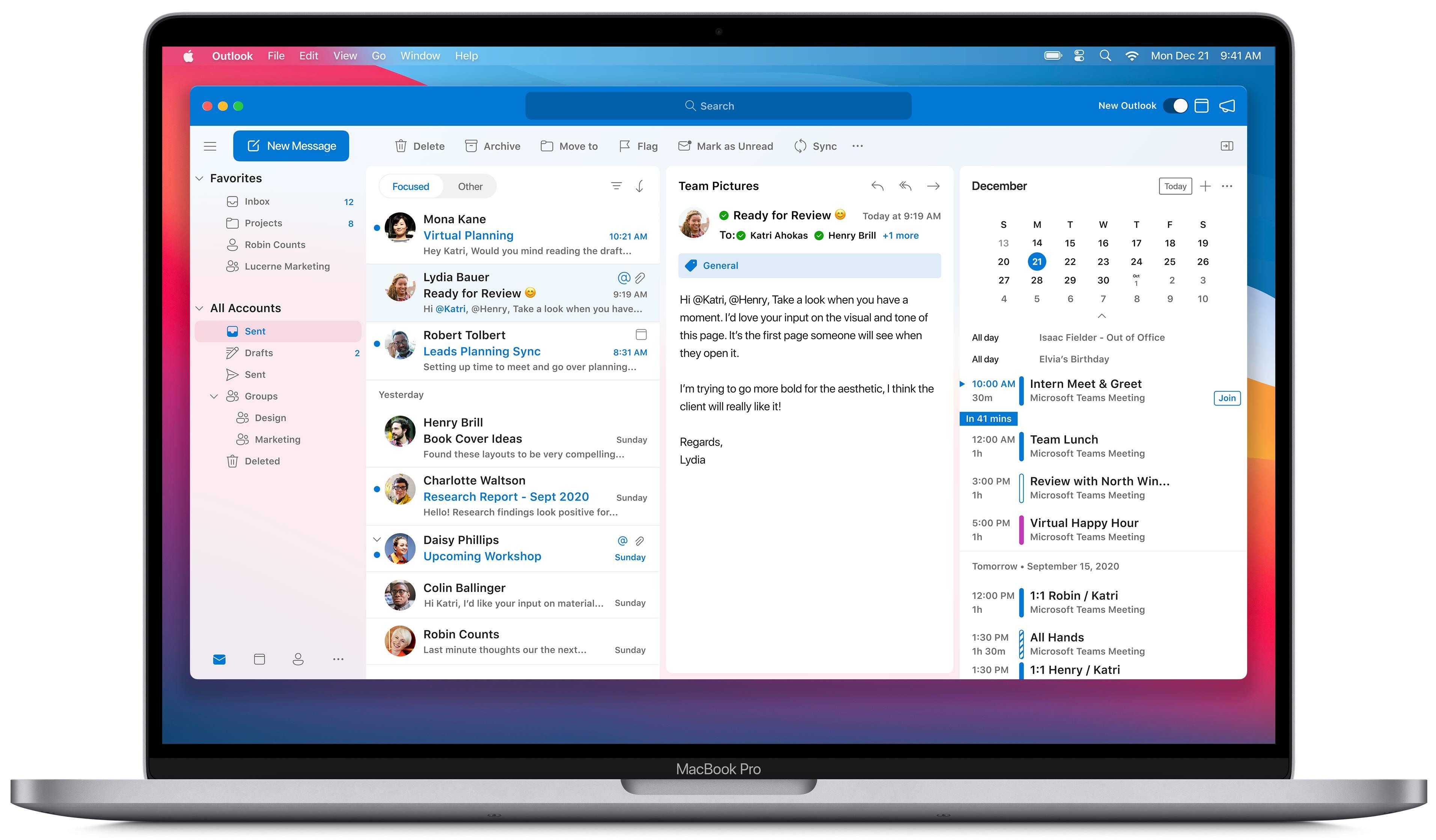 Interfaz universal de Outlook para MacOS