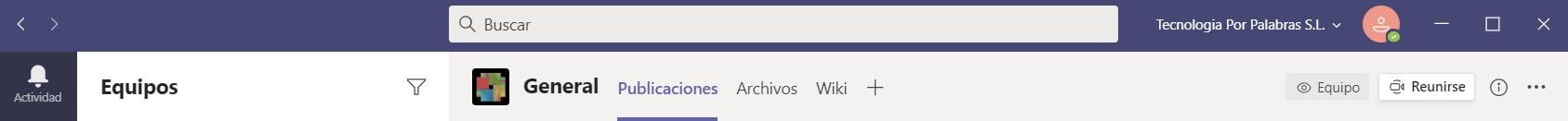 Barra de título de Microsoft Teams en Windows 10