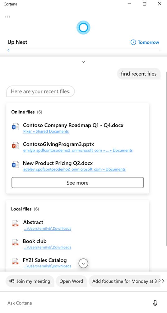 Cortana mostrando archivos en respuesta a una consulta de buscar archivos recientes