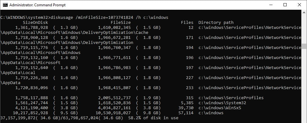 DiskUsage en Windows 10