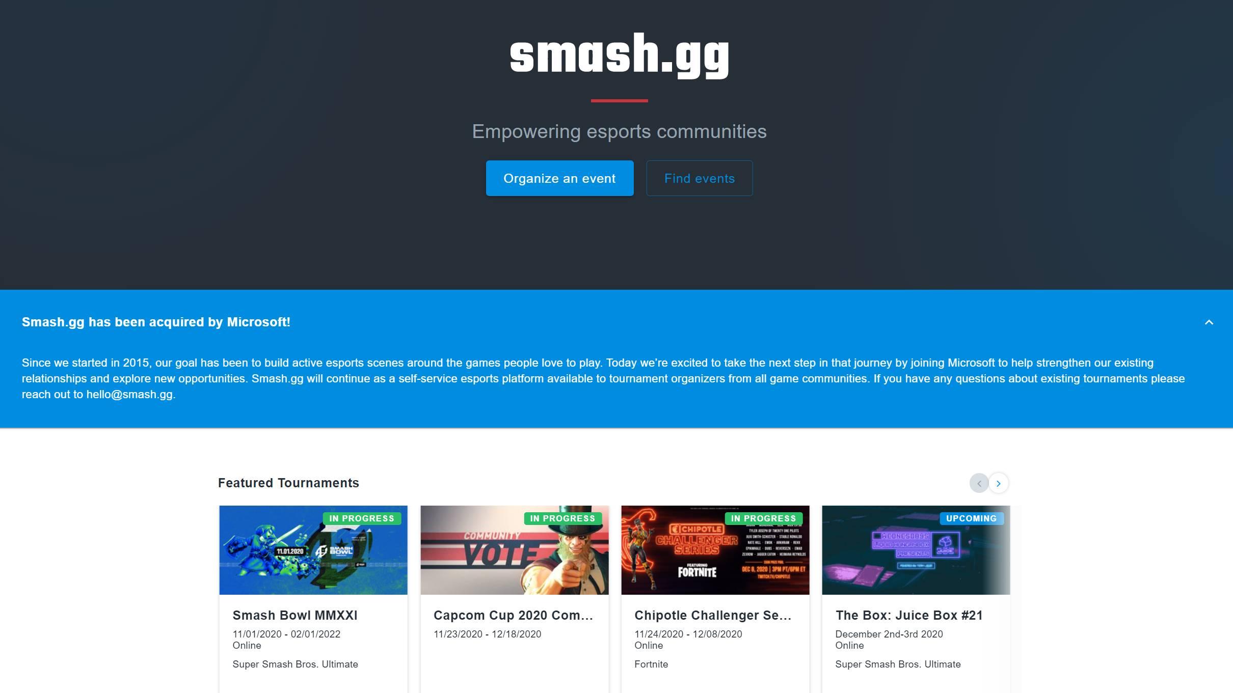 Smash.GG ha sido adquirida