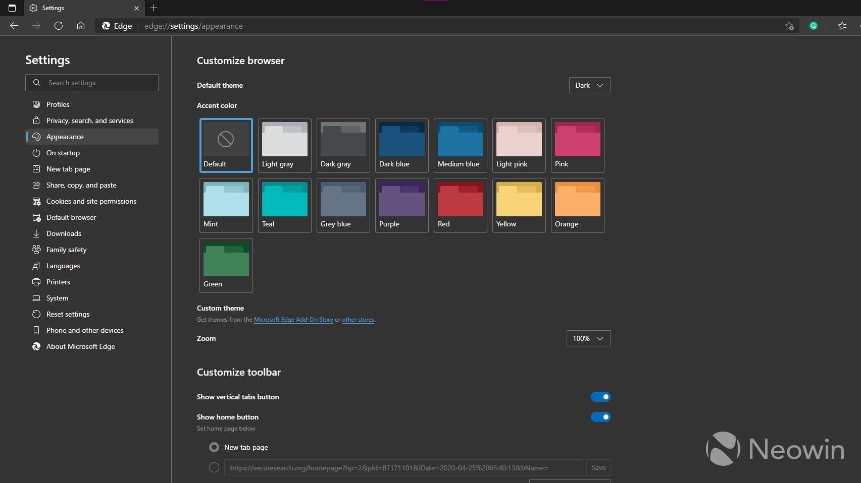 Selector de colores de acento en Microsoft Edge