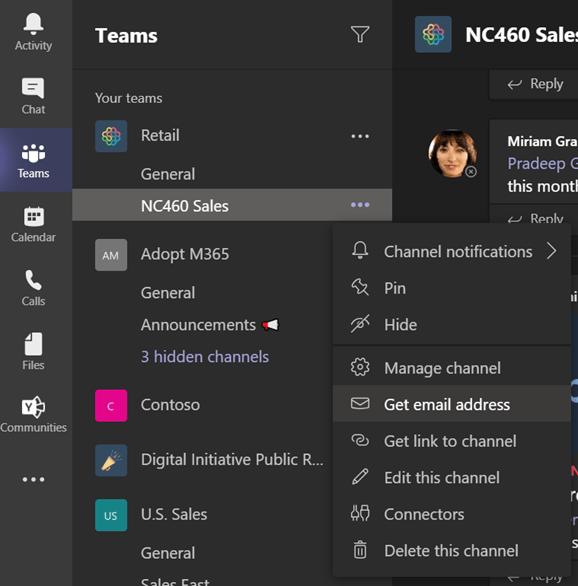 Compartir email en canales de Teams