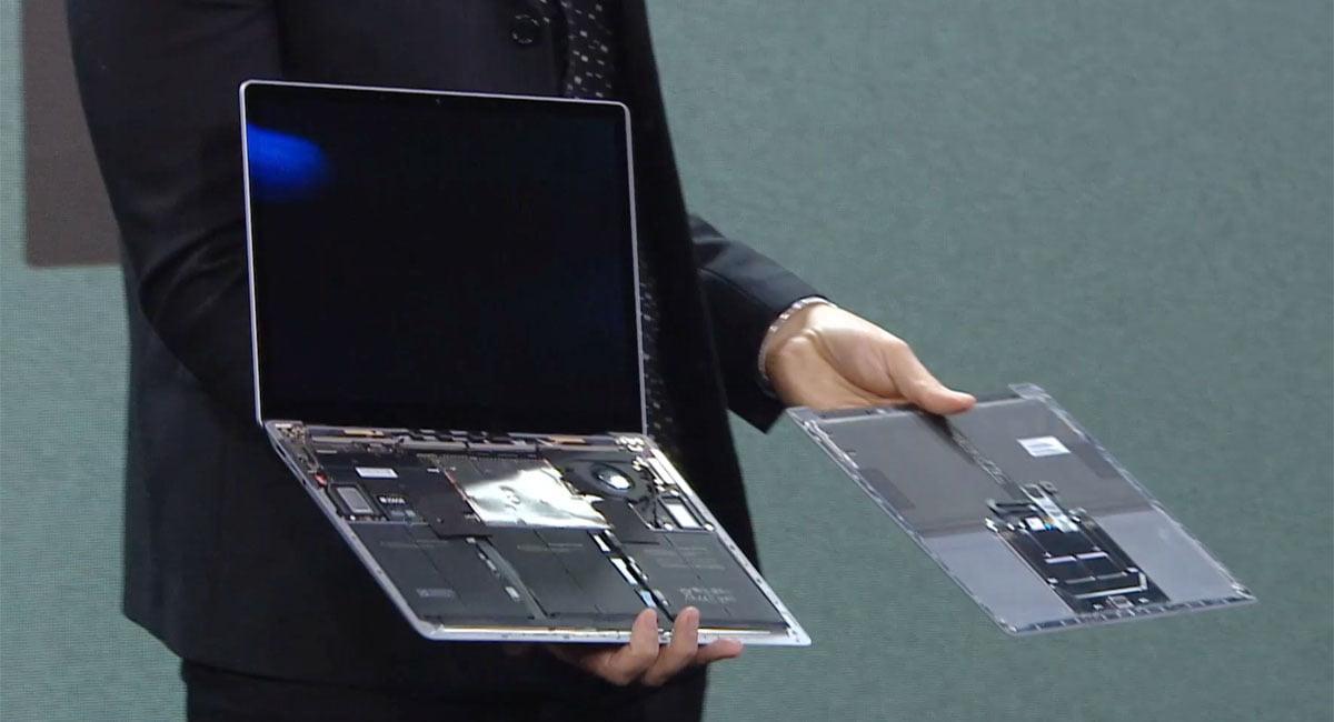 El interior de un Surface Laptop 3