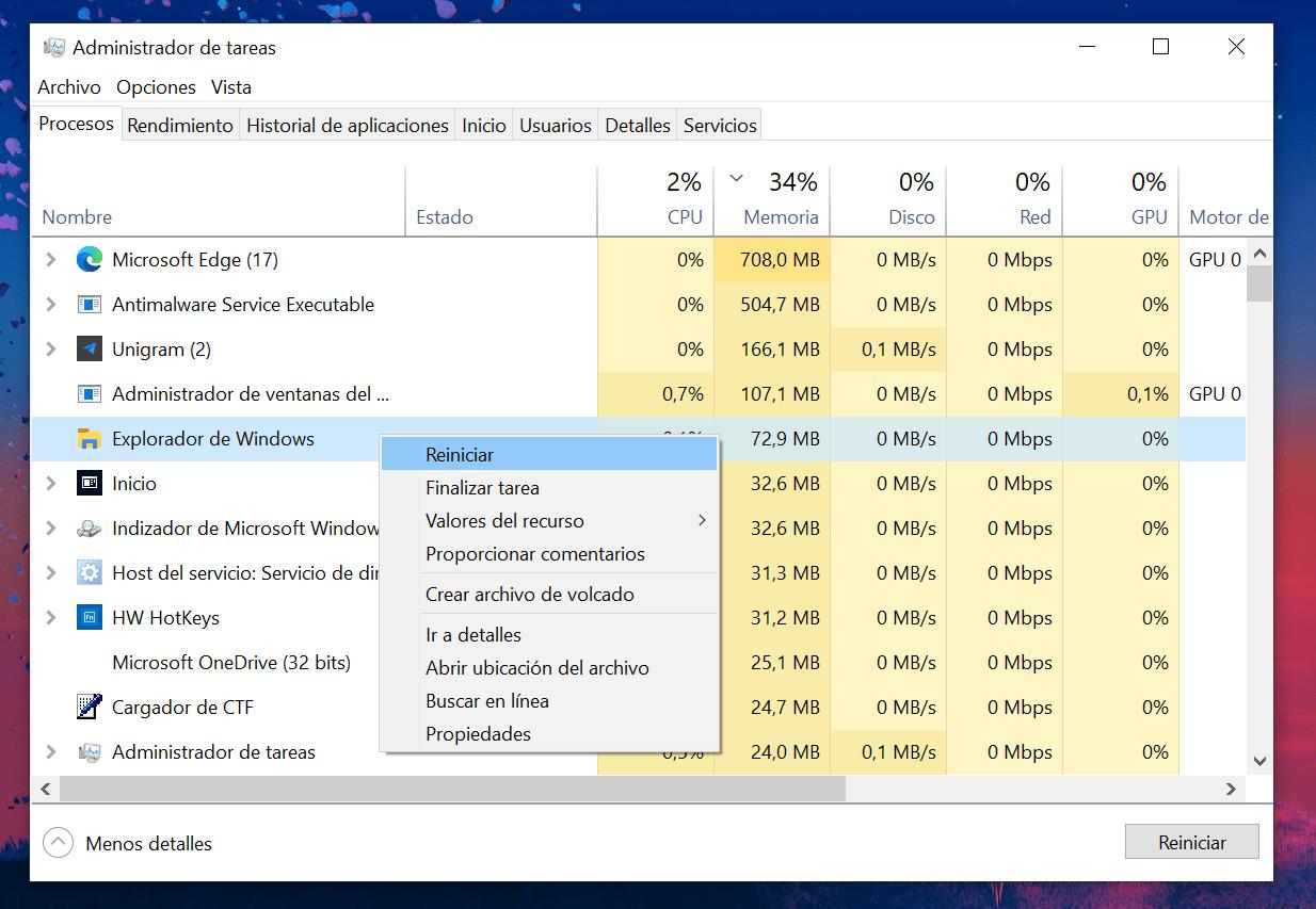 Pestaña de procesos del Administrador de Tareas de Windows 10