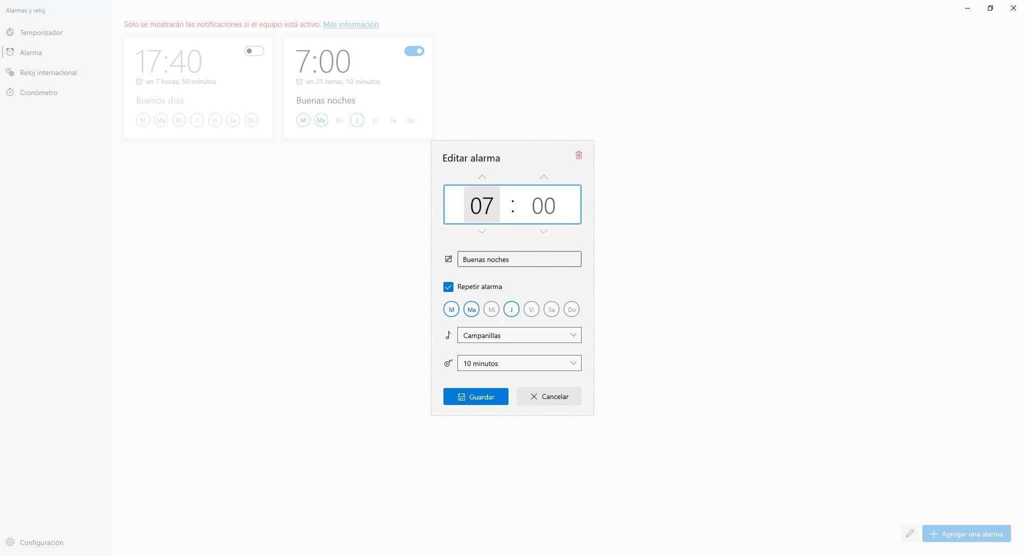 Nueva interfaz de configuración de alarmas de Windows 10