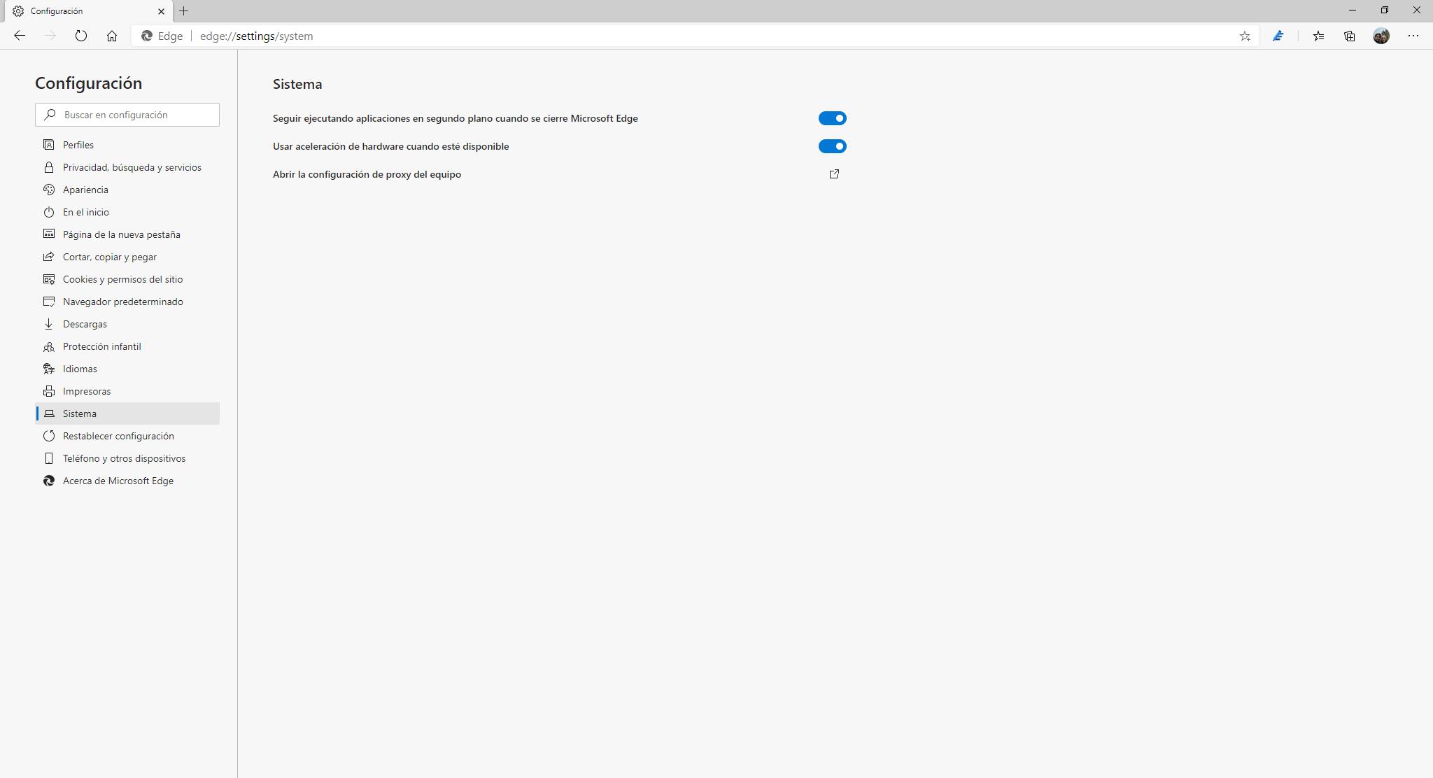 El área de sistema en Microsoft Edge