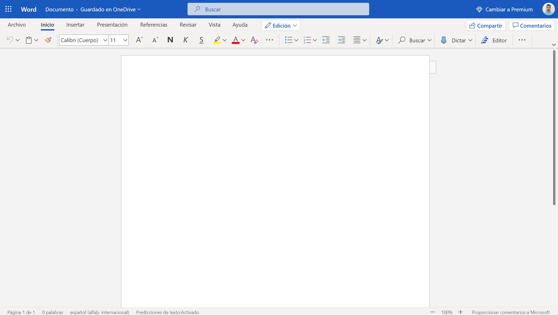 Actual interfaz de las aplicaciones web de Office