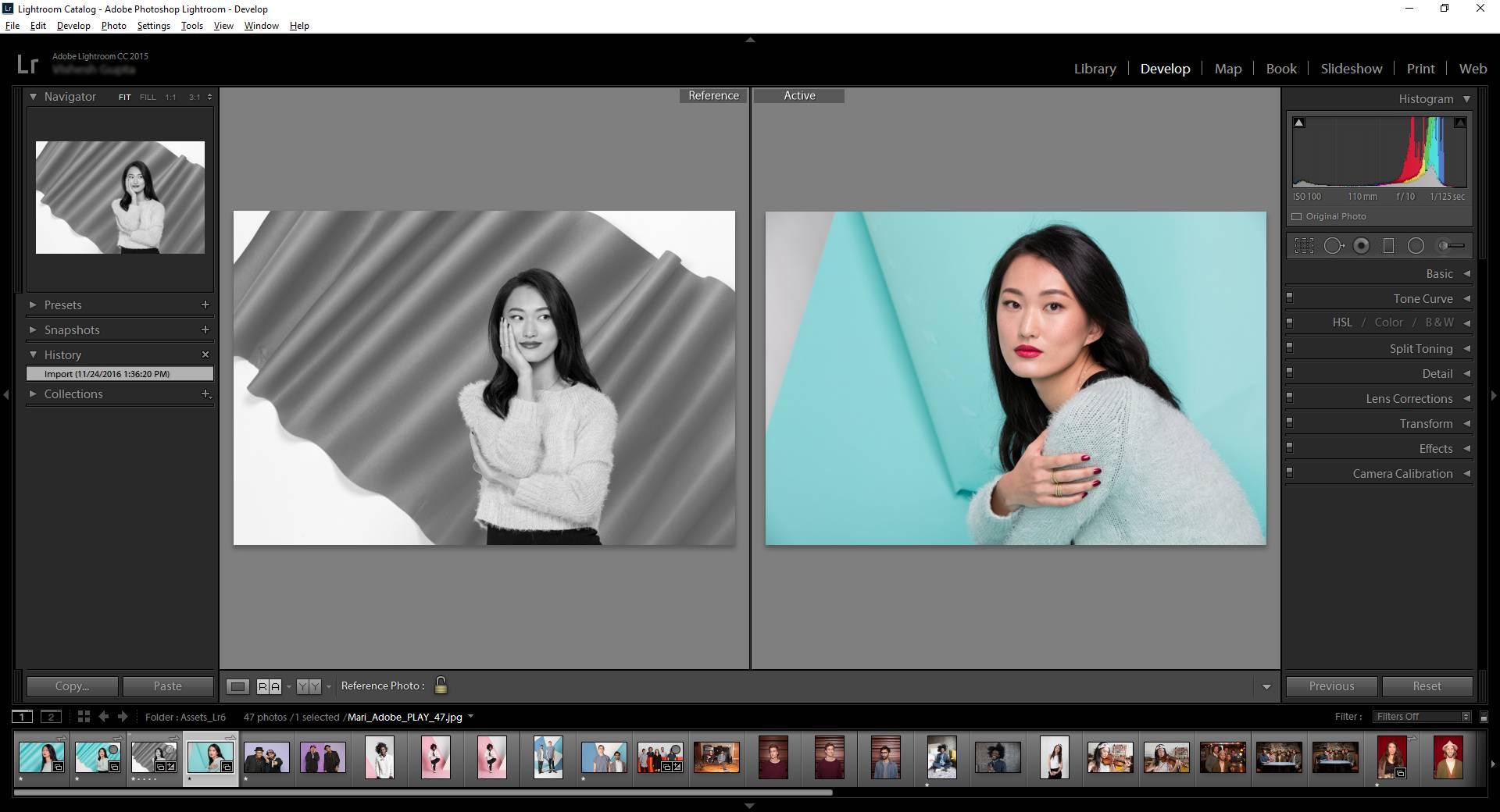 Ejemplo de edición en Adobe Lightroom