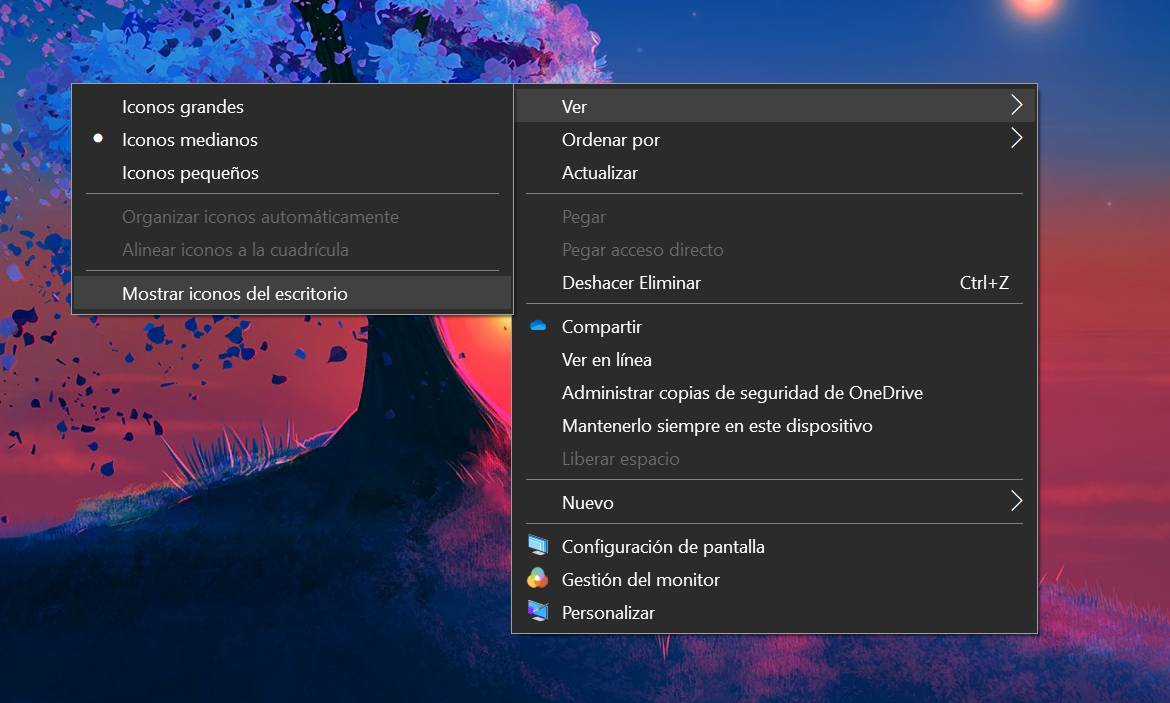 Mostrar iconos del escritorio en Windows 10