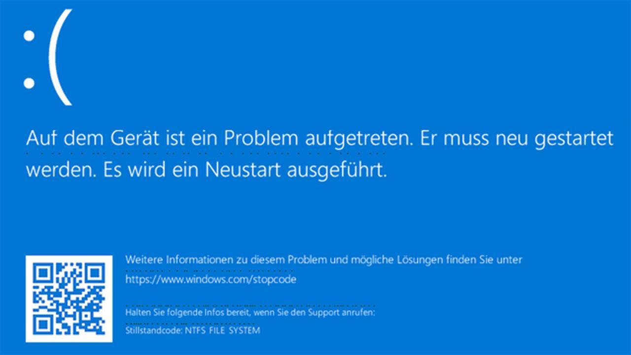 Pantallazo azul de Windows 10 con error en el sistema de archivos