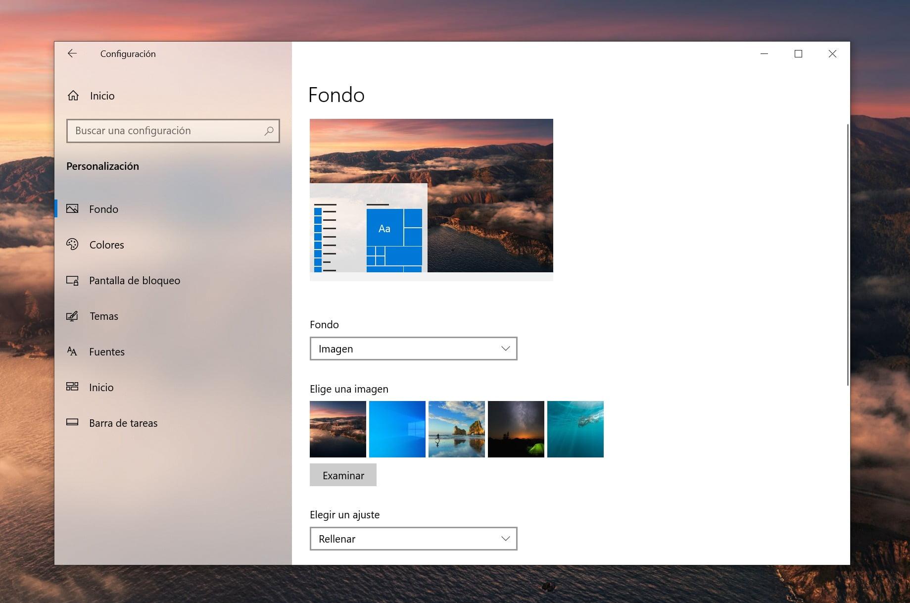 Apartado de Personalización de Windows 10