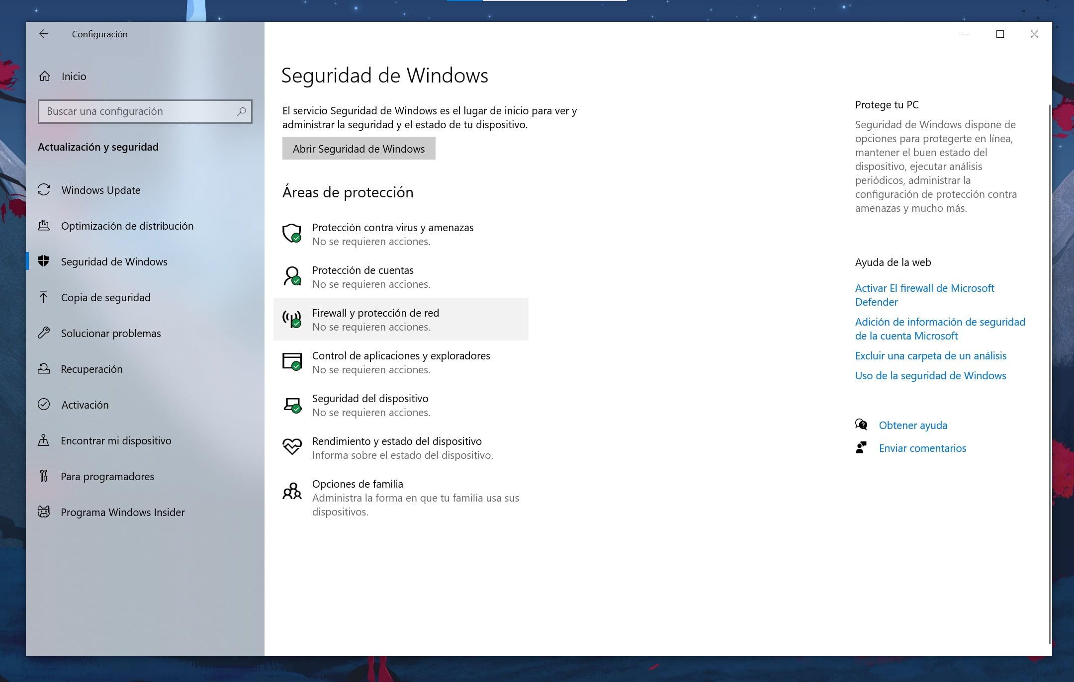 Configuración de Seguridad de Windows