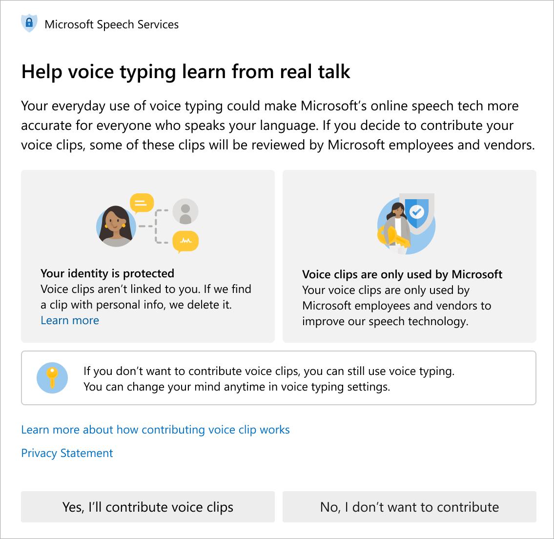 La nueva información de privacidad en audio de Microsoft