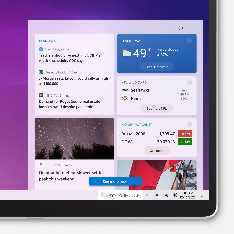 News-and-interests en la Build 21286 de Windows 10