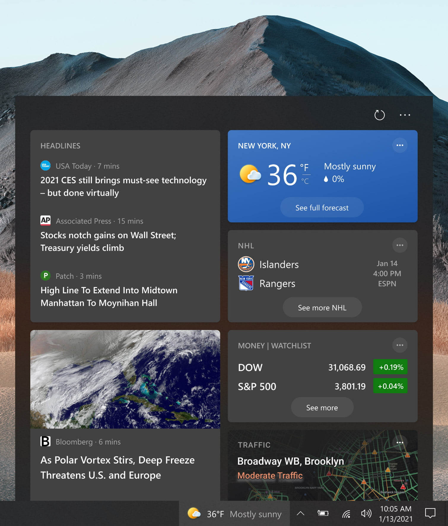 Widget de Noticias e Intereses de Windows 10 Sun Valley