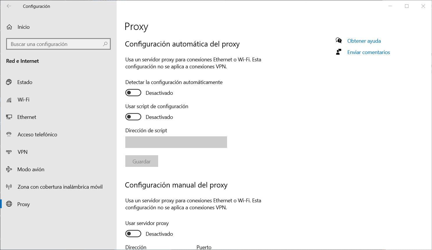 Desactivar la configuración de proxy de Windows 10 para aumentar la velocidad de Microsoft Edge 88