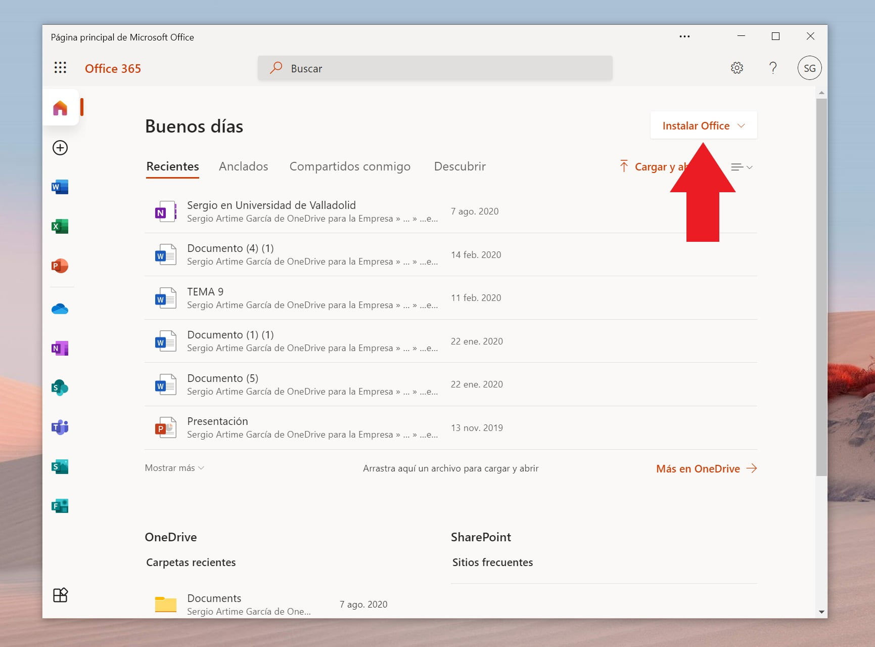 Página web de Office 365, desde donde podemos instalar Office gratis para centros educativos