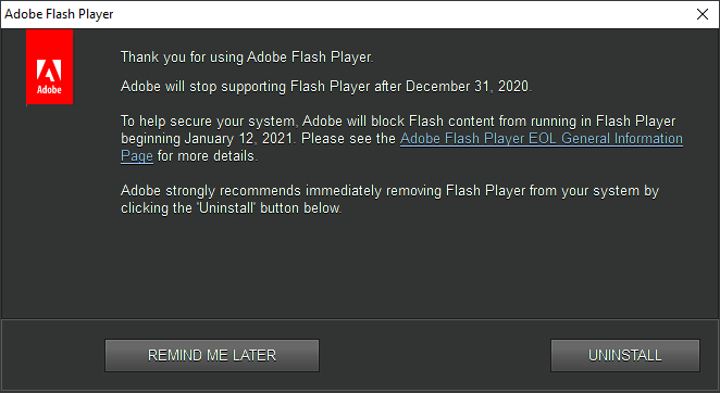 Aviso de fin de soporte de Adobe Flash Player en Windows 10