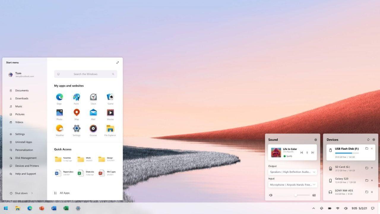 Concepto del Nuevo Menú Inicio de Windows 10