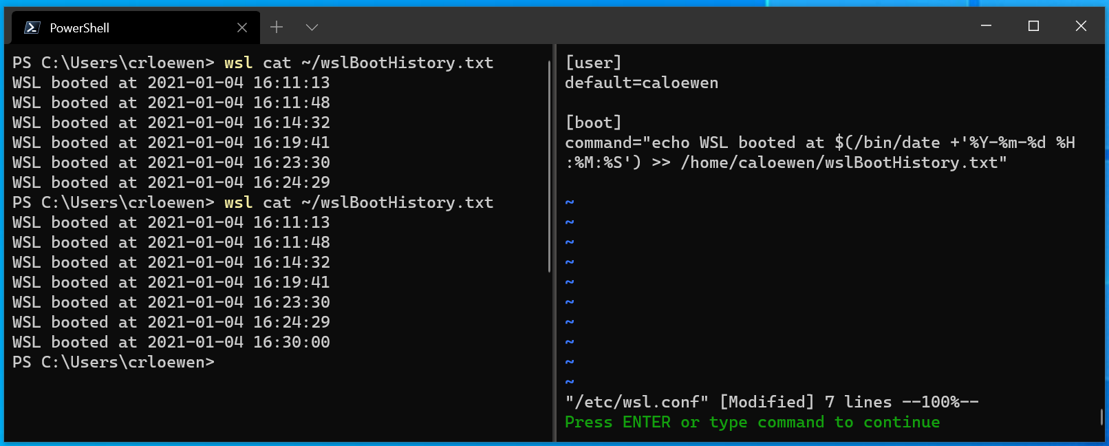 wsl-terminal-startup-commands