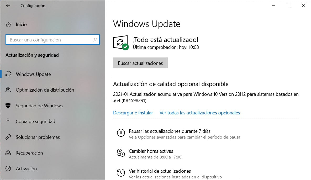 Actualización KB4598291 ofrecida a través de Windows Update