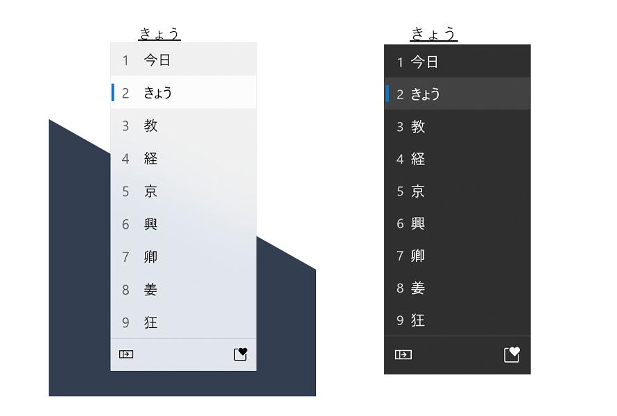 El nuevo panel IME en japonés