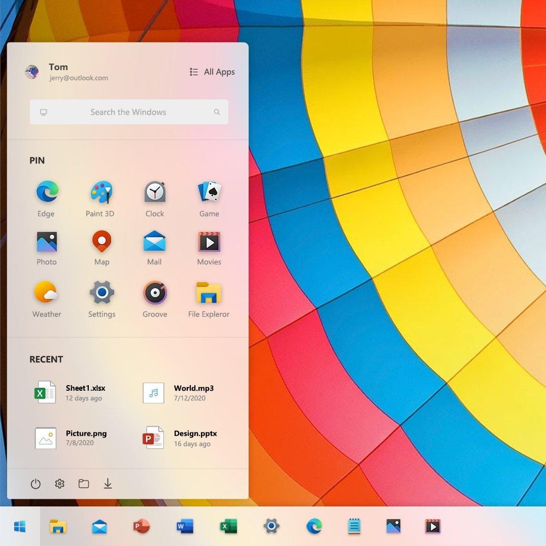 Mockup del posible nuevo Menú Inicio de Windows 10 Sun Valley