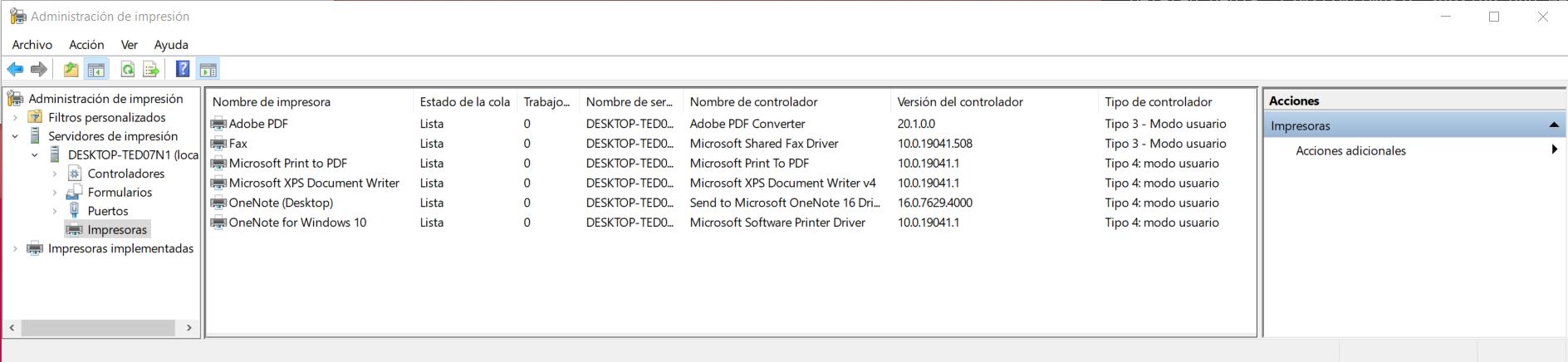 Administración de impresoras de Windows 10
