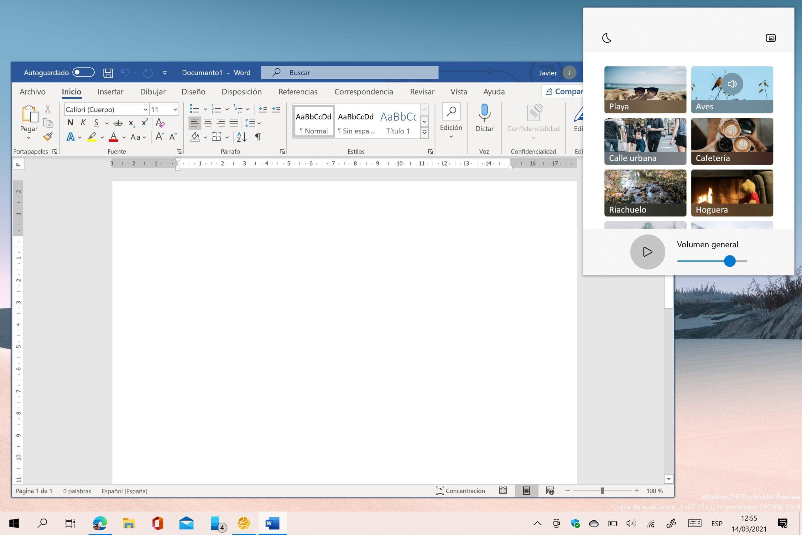Minirreproductor de Ambie White Noise usando Microsoft Word