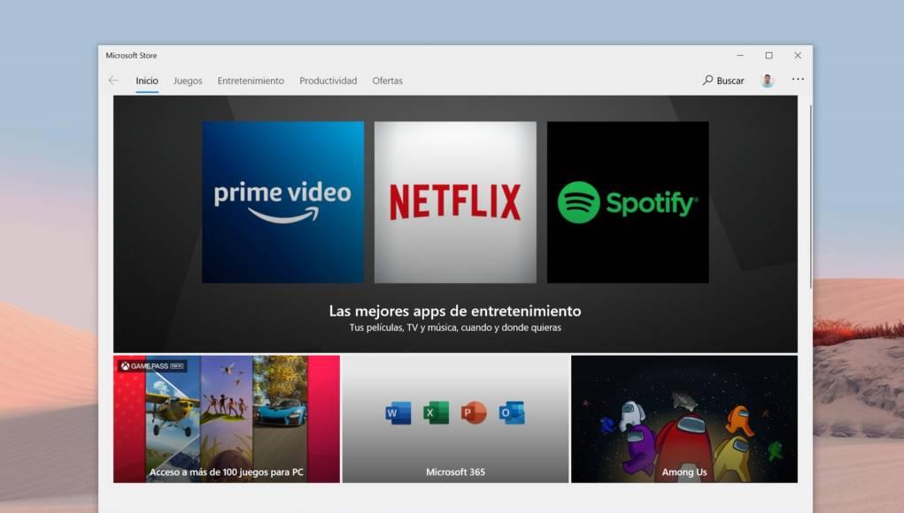 Foto de la aplicación de la Tienda en Windows 10 que será renovada con Sun Valley