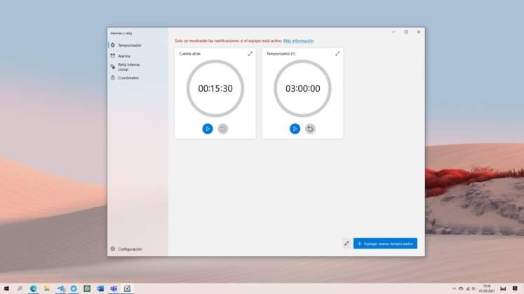 Nuevo diseño del tema claro de la app de Alarmas y reloj en Windows 10 Sun Valley