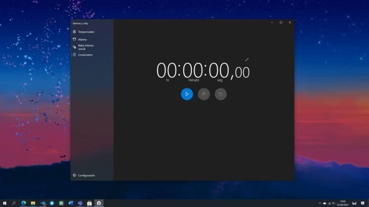 Nuevo diseño del tema oscuro de la app de Alarmas y reloj en Windows 10